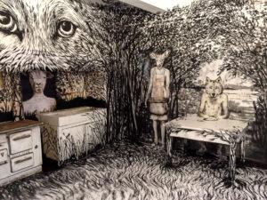 Animus en cuisine Installation deux jours, acrylique sur murs, sols et papier, Galerie Ephémère Villeneuve lès Maguelone 2017 par Laure Boin